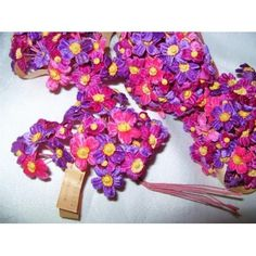 Pink and Purple Velvet Vintage Millinery Flower Supply WWII Hat Trim