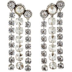 Lanvin Long-Drop Earrings (255.030 HUF) ❤ liked on Polyvore featuring jewelry, earrings, colorless, long drop earrings, chain earrings, chain drop earrings, clip on earrings and anchor stud earrings