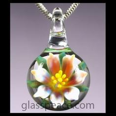 Glass Flower Pendant - Boro Lampwork Necklace by GlassPeace $20.95