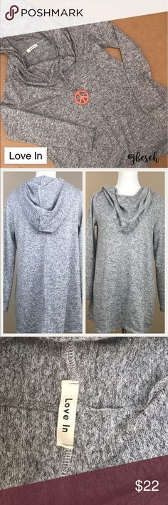 Love In Grey Hoodie Tunic This oversized Love In grey hoodie tunic is perfect with leggings or jeans. It's made of polyester and spandex, making it very comfortable. 💕Johnna Love In Tops Tunics