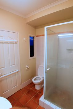 Before shot of the bathroom from the rear end (no pun intended). We found that a home handy man had previously done all of the structural work - it was in very rough shape Bathroom Renovations Brisbane, Handy Man, Old Things, Shape, Flooring, Mirror, Furniture, Home Decor, Fit