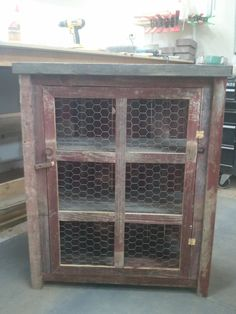 red 3 sided barnwood pie safe