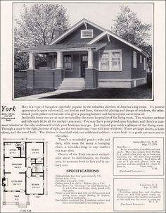 1920s Modern Bungalow - 1922 York by Bennett Homes - Kit Houses (Looks similar to my dad's parents' home.)