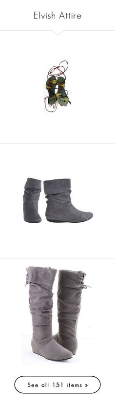 """""""Elvish Attire"""" by gryffandclaw ❤ liked on Polyvore featuring shoes, sandals, costume, boots, ankle booties, zapatos, sapatos, botas, bootie boots and r2"""