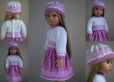 "Spring Joy - PDF Doll Clothes knitting pattern for 18"" Kidz n Cats Doll"