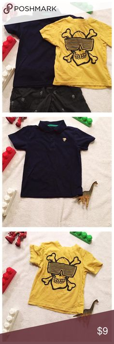 🎉Bundle Set Outfits Sale Elastic waistband 4T grey short with pirate designs from Children's Place   Skull casual shirt from Children's Place. 24T  Specialty Baby Polo 24T   All orders  ship on Thursday of that week.   All garments are oxygen  soaked and cleaned. Ironed and starched before shipment.   Smoke and Pet free home. Children's Place Shirts & Tops