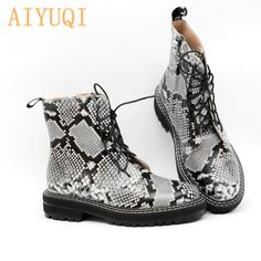 AIYUQI Women shoes 2020 Women Martin Boots Spring Genuine Leather Ladies Snake Mosquito Fashion Lac - Trend Shes 2020 Lace Ankle Boots, Spring Boots, Martin Boots, Combat Boots, Footwear, Snake, Lady, Garden Toys, Leather
