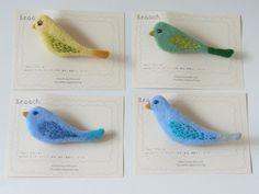 """tori"" - Bird Brooches by Felt Fulling Lab-Ryoko Hirota"