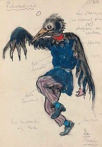 Costume designs by Alexander Benois for an artisan disguised as a crow in Stravinsky's Petrouchka, premiered by the Ballets Russes in 1911. Benois later designed many ballet productions for La Scala, Covent Garden, and the Ballet Russe de Monte Carlo.