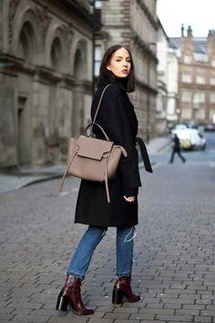 Bloglovin Blog Wrap Coat Céline Belt Bag Cropped Knee Ripped Jeans Raw Hem Denim Block Heel Boot Polished Blogger Lizzy Hadfield Style Via Shot From The Stree