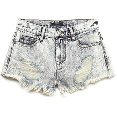FOREVER 21+ PLUS SIZES Dearly Distressed Denim Shorts ($14) ❤ liked on Polyvore featuring shorts, bottoms, short, pants, short shorts, forever 21 shorts, high waisted short shorts, womens plus size shorts and forever 21