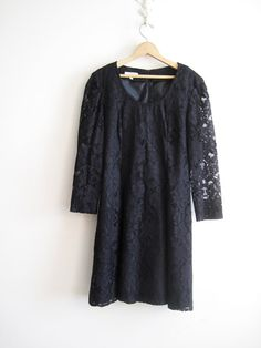 Vintage 80s Brooks Brothers Black Lace Dress by ShantyIrishVintage