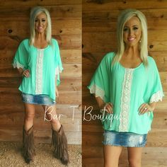 Mint Lacey Top ~ Follow @bar_t_boutique on Instagram  to Shop weekly New Arrivals.