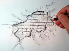 Breaking wall drawing 3D