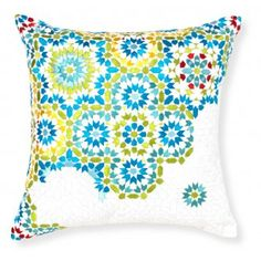 Porto cushion by Rapee. I love the embroidery details and color shading. Velvet Cushions, Floor Cushions, Cushions Online, Printed Cushions, White Embroidery, Cushion Covers, Home Furnishings, The Help, Throw Pillows