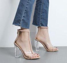 Beige Peep Toe Clear Chunky Heeled Boots