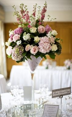 Example martini glass large arrangement - this is what I'm thinking of for the pedestal arrangements for the ceremony and behind the top table.