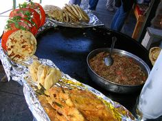 Food from one of the vendors at the street fair, where were able to get off for 15 minutes to see the sights, buy souveneirs, and scarf down the good food (quesadillas, tacos, chiles rellenos, and carne desebrada). It was delicious!