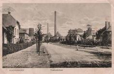 Treebeekstraat (foto ± 1921): Entree van Treebeek links van de ingenieurswoningen. Links staat een bord 'Eigen weg der Staatsmijnen'. Aan weerskanten van de weg staan twee paaltjes, daartussen kon een ketting gespannen worden, om de weg af te sluiten.