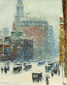 New York in the Blizzard of 1920 by Guy Carleton Wiggins NA (b. February 23, 1883; Brooklyn, New York – d. April 1962; St. Augustine, Florida) https://en.wikipedia.org/wiki/Guy_C._Wiggins