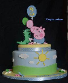 George pig - Cake by Alessandra Rainone - CakesDecor Tarta George Pig, Cumple George Pig, George Pig Cake, George Pig Party, Baby George, Tortas Peppa Pig, Bolo Da Peppa Pig, Peppa Pig Birthday Cake, 2nd Birthday