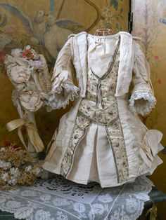 ~~~ Superb French Silk BeBe Costume with Lace Bonnet ~~~ from whendreamscometrue on Ruby Lane
