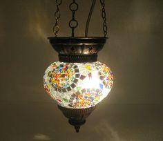 Gray mosaic hanging lamp glass chandelier light lampen handmade candle art 141 #Handmade #Moroccan