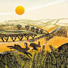 A fine art greeting card by printmaker Rob Barnes, blank inside for your own message. Our greeting cards are printed on beautiful, premium FSC-approved board. Linoleum Block Printing, Spring Images, Square Card, Colorful Birds, Linocut Prints, Affordable Art, Daffodils, Landscape Art, Birds In Flight