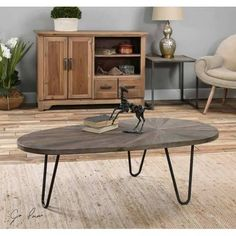 Weathered Gray Wash Marquise Top Coffee Table