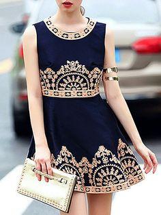Navy Round Neck Sleeveless Embroidered Dress 57.67