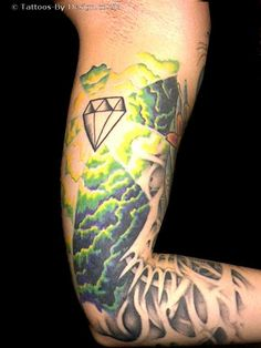 green cloud tattoo | ... spider tattoo design. Spider web elbow tattoo. Diamond Tattoo Designs