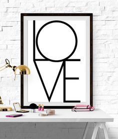 Love Print Black White Geometric Poster Decor Art Printable Minimalist Couple Wedding Anniversary Gift Engagment Simple Downloadable Sleak