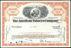 #ZZCE022 - 1960s 100 Share Stock Certificate from The American Tobacco Company