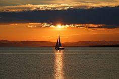 Sunbathing sailor, Carleton sur Mer, Quebec, Canada