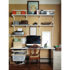 White elfa décor freestanding Home Office | Organizing, Desks and ...