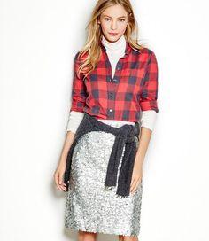 J crew sequin skirt with buffalo plaid shirt
