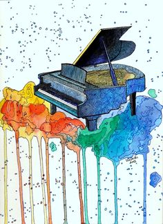 Watercolor piano painting by VlaDePas.deviantart.com on @deviantART