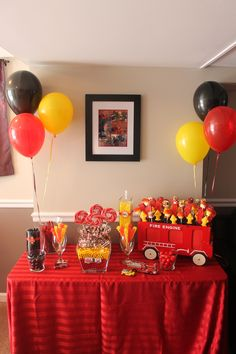 Firefighter Home Decor . Firefighter Home Decor . Vincent S Firefighter Party Mickey Birthday, 4th Birthday Parties, Birthday Party Decorations, Parties Decorations, 3rd Birthday, Fireman Party, Firefighter Birthday, Fireman Cake, Firefighter Baby Showers