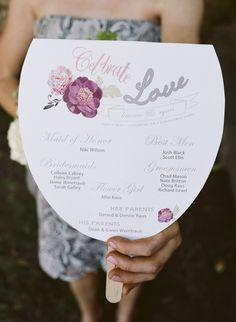 love this design // ceremony fan programs. photo by Heidi Vail Wedding Program Fans, Wedding Ceremony Programs, Fan Programs, Wedding Fans, Wedding Ceremonies, Wedding Paper, Diy Wedding, Dream Wedding, Wedding Ideas