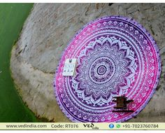 Indian Ombre Round Mandala Beach Throw Tapestry Boho Roundie Towel Hippie Gypsy Cotton Yoga Mat Picnic Blanket in Pink & Purple