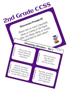 CCSS Reading Discussion Combo (2nd Grade) - Includes full-sized reading discussion prompts for whole group use, and matching task cards for small groups, centers, or cooperative learning teams. $