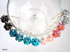 Swarovski earrings/ Swarovski ball earrings/ Beaded by Ranitit