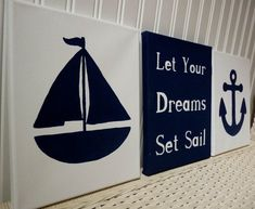 Nautical Nursery Wall Decor Anchor Nursery Sailboat Navy Blue White Canvas Paintings / Baby Girl Boy Nursery Bedroom/ Wall Hanging Kids Art on Etsy, $57.00