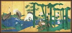 Antique Japanese six panel folding screen (byōbu) in sumi and colors on gold…