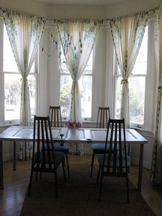 Dinning Room These Style Curtains For My Bay Windows. Dining Table Set  Within. (not A Door Table Though!