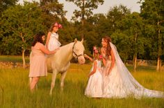 Horse Weddings, bridesmaids with horses