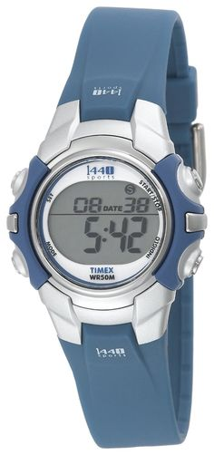 Timex Women's T5J131 1440 Sports Digital Blue/Silver-Tone Resin Strap Watch