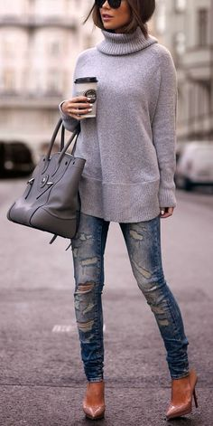 Roped distressed denim and treys for spring