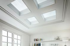 Why choose 1 roof window when you can have 4 - and not break the budget! ECO+ glass rooflights stylish, high performing flat roof windows that cost a fraction of the cost of other skylights. Flat Roof Skylights, Roof Window, Roof Light, Windows, Flats, Architecture, Fairy, Budget, Furniture