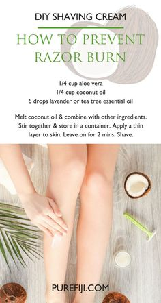 EASY DIY COCONUT OIL SHAVING CREAM for razor burn and skin irritation. A combination of very dry skin & sensitivity to shaving can irritate legs in the winter resulting in red bumps ingrown hairs & itchy and flaky. No fun! Make the homemade cream using #e http://beautifulclearskin.net/category/products/